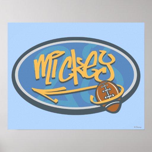 Logotipo del fútbol de Mickey Mouse Póster