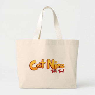 Logotipo del gato nueve bolsa de tela grande