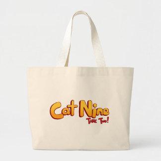 Logotipo del gato nueve bolsa tela grande
