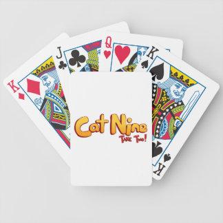 Logotipo del gato nueve baraja de cartas