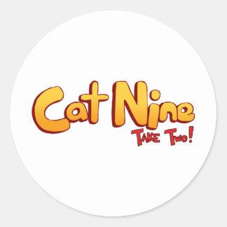 Logotipo del gato nueve etiquetas redondas