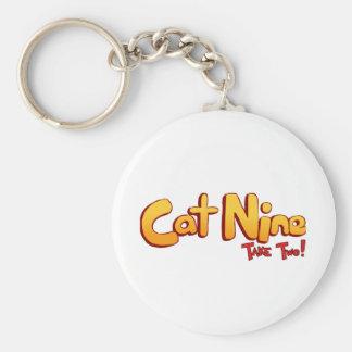 Logotipo del gato nueve llavero redondo tipo pin