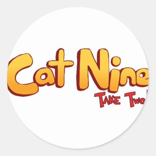 Logotipo del gato nueve pegatina redonda