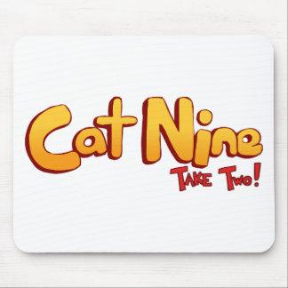Logotipo del gato nueve tapete de ratones