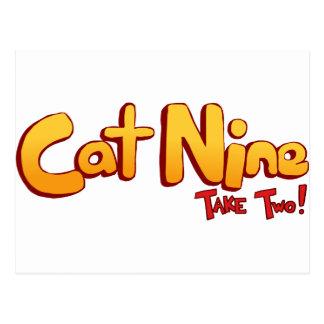 Logotipo del gato nueve tarjeta postal