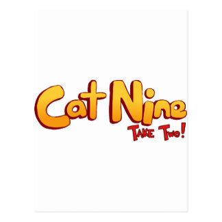 Logotipo del gato nueve postal