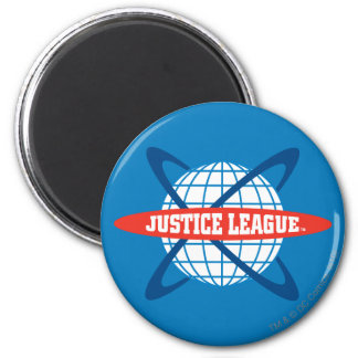 Logotipo del globo de la liga de justicia imán redondo 5 cm