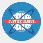 Logotipo del globo de la liga de justicia etiquetas redondas