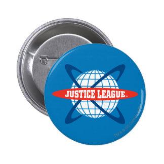 Logotipo del globo de la liga de justicia pin redondo 5 cm