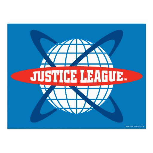 Logotipo del globo de la liga de justicia tarjeta postal