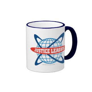 Logotipo del globo de la liga de justicia tazas de café