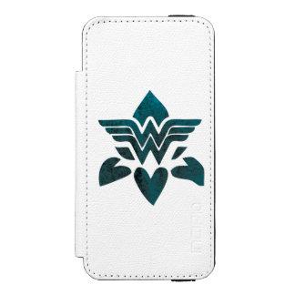 Logotipo del Grunge de la Mujer Maravilla Funda Billetera Para iPhone 5 Watson