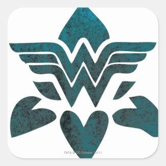 Logotipo del Grunge de la Mujer Maravilla Pegatina Cuadrada