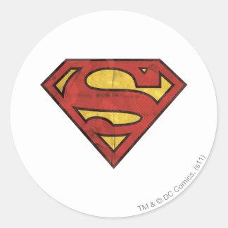 Logotipo del Grunge del superhombre Pegatina Redonda