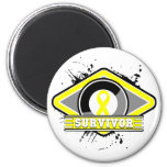Logotipo del Grunge del superviviente del cáncer d Imán Para Frigorífico