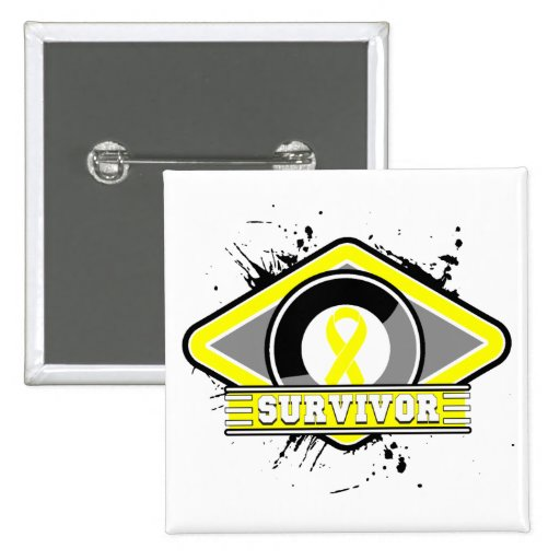 Logotipo del Grunge del superviviente del cáncer d Pins