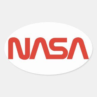 Logotipo del gusano de la NASA Calcomanía Oval