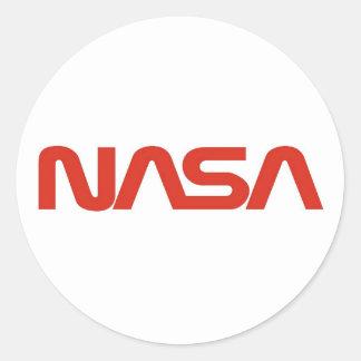 Logotipo del gusano rojo de la NASA Pegatina Redonda