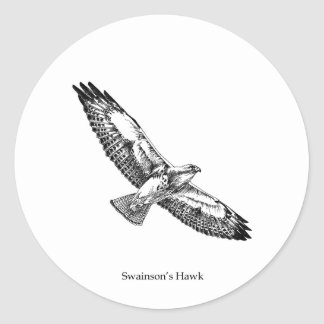 Logotipo del halcón de Swainson (titulado) Pegatina Redonda