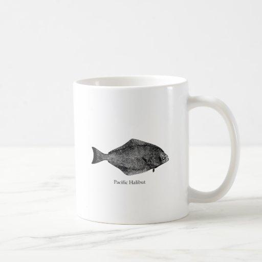 Logotipo del halibut pacífico taza