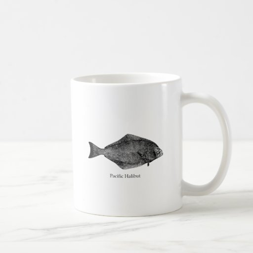 Logotipo del halibut pacífico taza de café