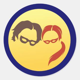 Logotipo del héroe de MidnightSQL - pegatinas en Pegatina Redonda