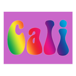 Logotipo del Hippie de California del teñido anuda Postal