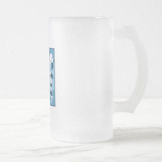 Logotipo del hockey de los azules claros jarra de cerveza esmerilada