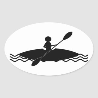 Logotipo del hombre del palillo del kajak pegatina ovalada