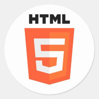 Logotipo del HTML 5 Pegatina Redonda
