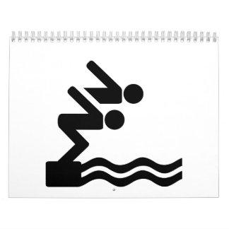 Logotipo del icono del nadador calendarios de pared