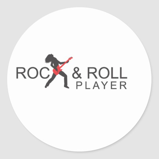 """""""Logotipo del jugador de la roca y del rollo"""" Pegatina Redonda"""