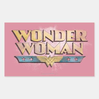 Logotipo del lápiz de la Mujer Maravilla Pegatina Rectangular