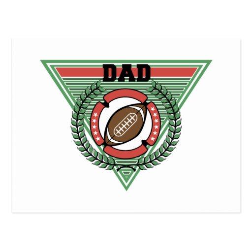 Logotipo del laurel del papá del fútbol postales