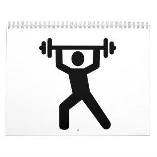 Logotipo del levantamiento de pesas calendario