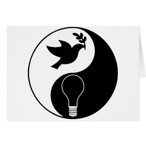 Logotipo del Libertarianism que acentúa paz y la i Felicitación