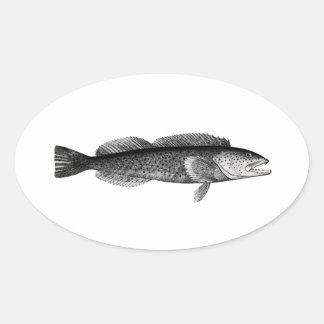 Logotipo del Lingcod Calcomanía Óval Personalizadas