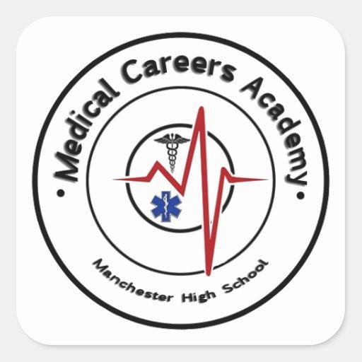 Logotipo del MCA del MHS redondo Calcomanía Cuadrada Personalizada