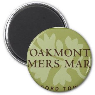 Logotipo del mercado de los granjeros de Oakmont Imán Redondo 5 Cm