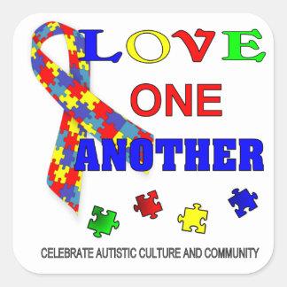 Logotipo del mes de la conciencia del autismo pegatina cuadrada