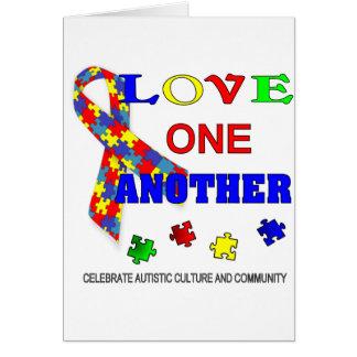 Logotipo del mes de la conciencia del autismo tarjeta de felicitación