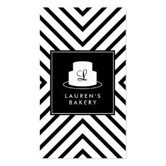Logotipo del monograma de la torta con la plantilla de tarjeta personal