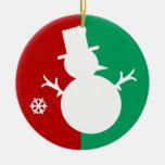 Logotipo del muñeco de nieve adorno redondo de cerámica