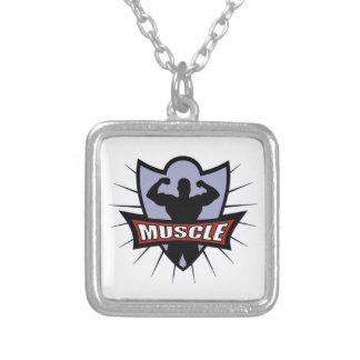 Logotipo del músculo del Bodybuilder Collar Plateado