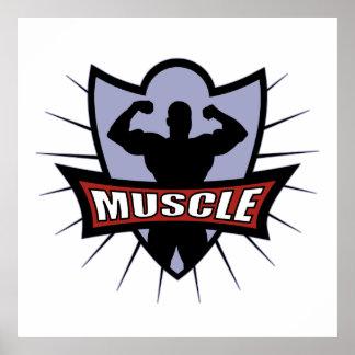 Logotipo del músculo del Bodybuilder Póster