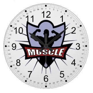 Logotipo del músculo del Bodybuilder Reloj Redondo Grande