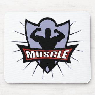 Logotipo del músculo del Bodybuilder Tapetes De Raton