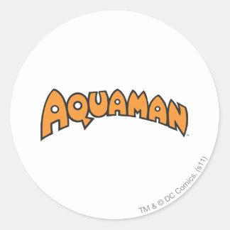 Logotipo del naranja de Aquaman Pegatinas Redondas