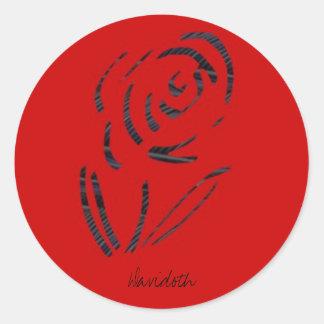 Logotipo del naranja de la flor pegatina redonda