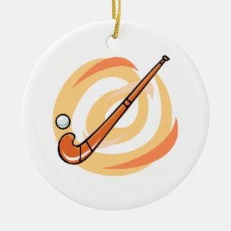 Logotipo del naranja del hockey hierba adorno navideño redondo de cerámica